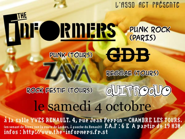 2003, 4 octobre - Salle Yves Renault (Chambré-les-tours) - The Informers, Zaya, GDB, Quiproquo
